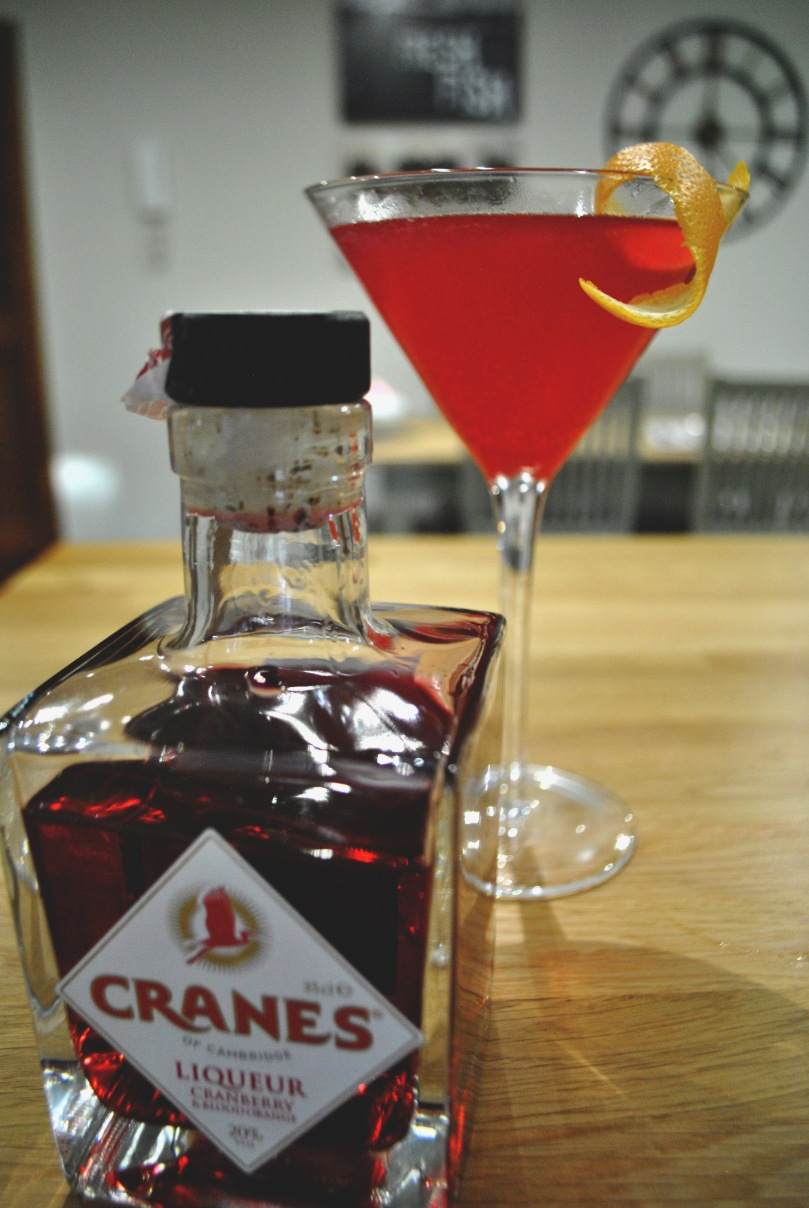 Cosmopolitan with Cranes Cranberry and Blood Orange Liqueur